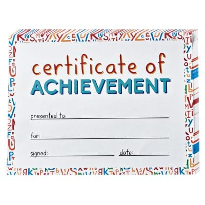 Certificate of achievement.