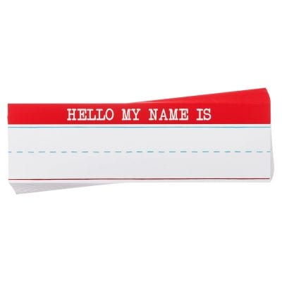 "Name plate with the words ""Hello my name is"" written on the top."