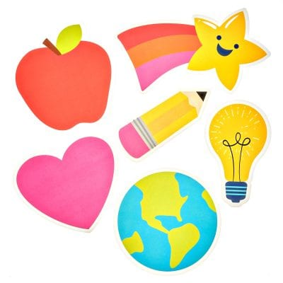 Bulletin board stickers of an apple, a star, a heart, a pencil, a lightbulb, and the globe.