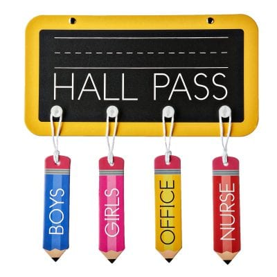 Hall pass board with various hall passes hanging from the bottom -- inexpensive walmart classroom buys
