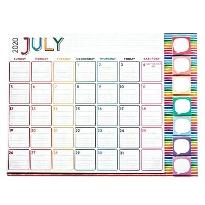 Desk calendar template of the month July.
