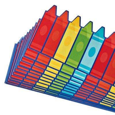 Bulletin board builder with a multi-colored crayon design.