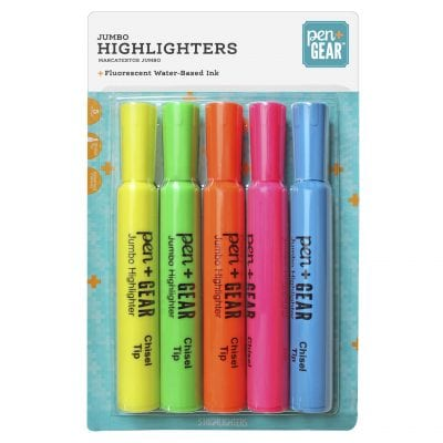 Assorted colors of highlighters -- inexpensive walmart classroom buys