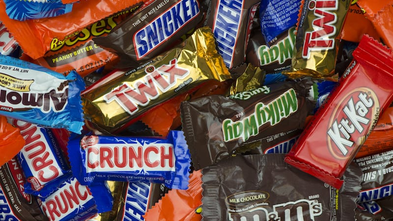 Twix, Milky Way, Snickers, and Crunch candy bars
