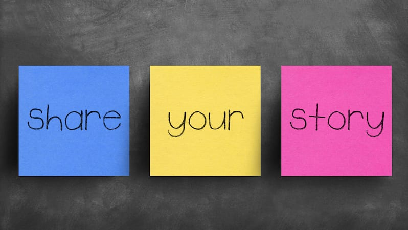 Share your story message written on three post it notes