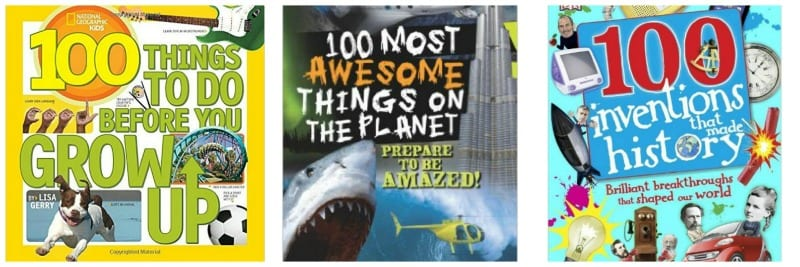 Three books with 100 in the title including 100 Most Awesome Things on the Planet