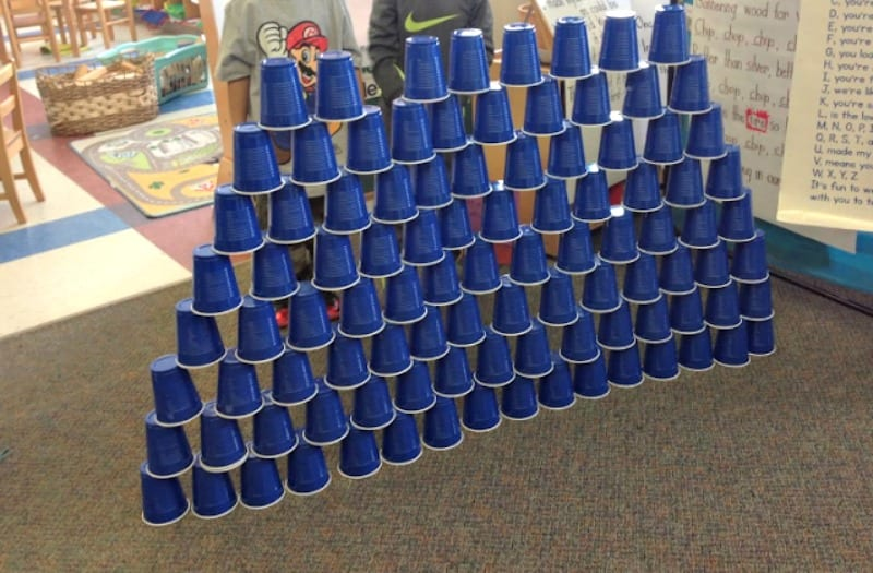 Tower of 100 cups