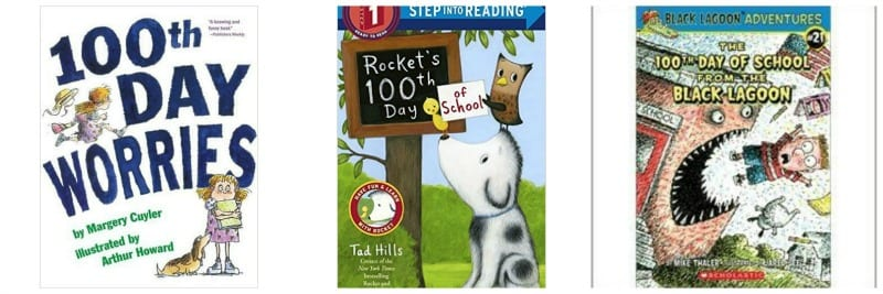Three books about 100th Day including 100th Day Worries and Rocket's 100th Day of School