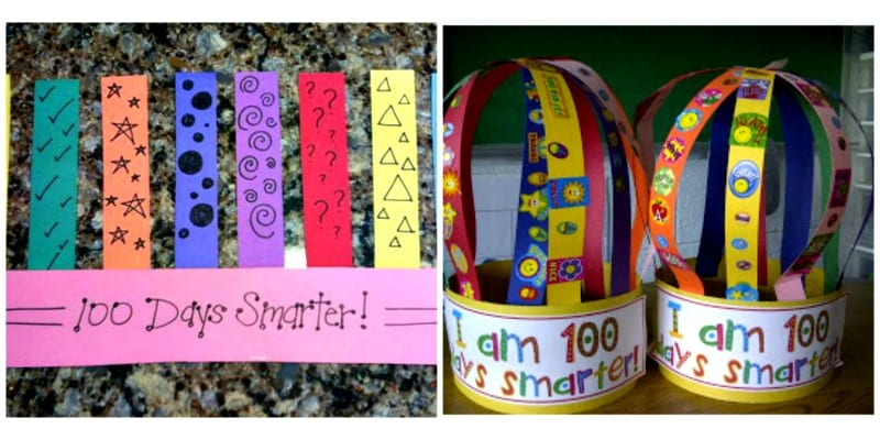 100th Day crowns made with construction paper