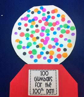 Template of a gumball machine and 100 dot paints in various colors.