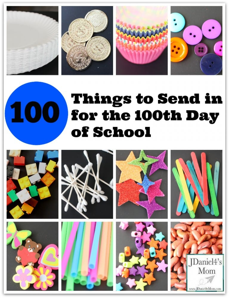 Collage of different small items students can bring to school 100th day - erasers, pencils, beads, etc.