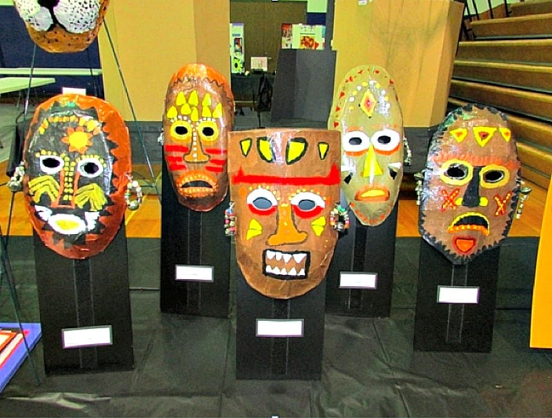 African masks on display -- 4th grader needs to know