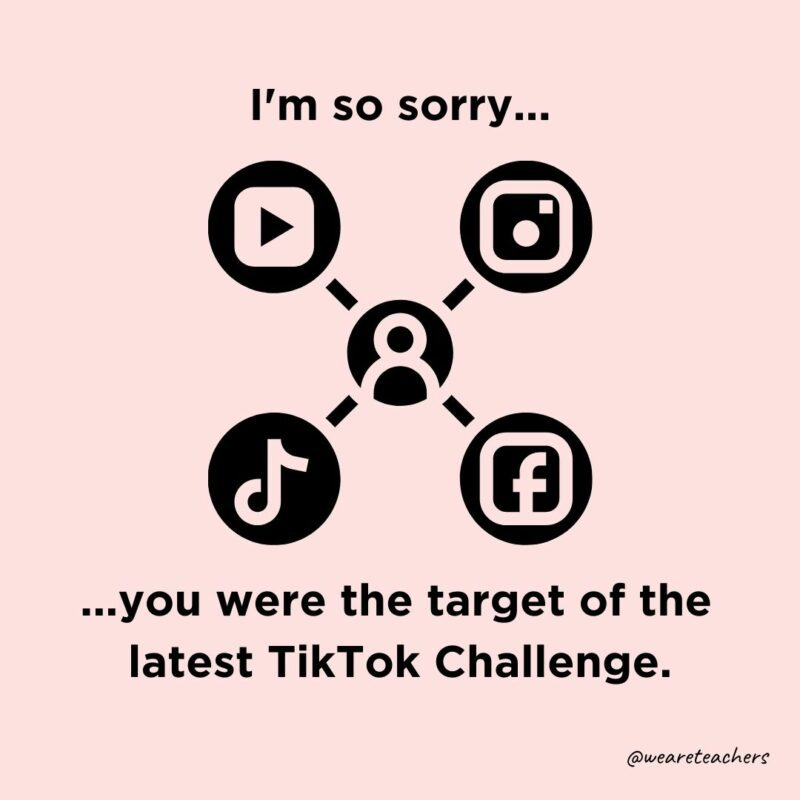 """Icon of social media sites with a person icon in the middle with text around the image that says, """"I'm so sorry you were the target of the latest TikTok Challenge."""""""