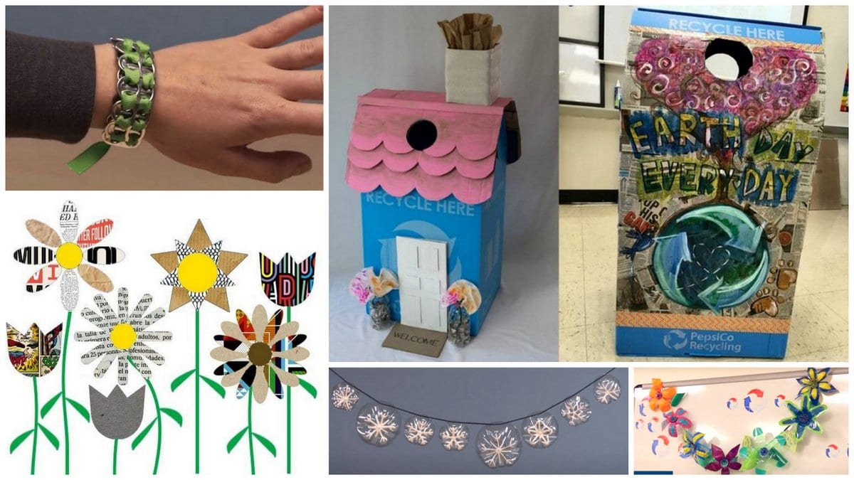 Collage of activities using recycled materials.