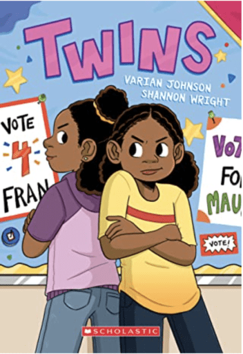 Book cover of Twins--one of our fave middle school graphic novels