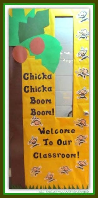 """Door decoration of monkeys falling from a coconut tree, with the words """"chicka chicka boom boom! Welcome to our classroom!"""" -- classroom doors"""