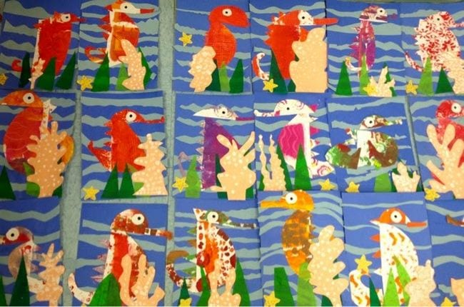 Painted seahorses in the style of Eric Carlyle