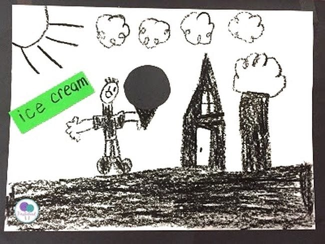 Black crayon drawing of child holding an ice cream cone, with a house and trees