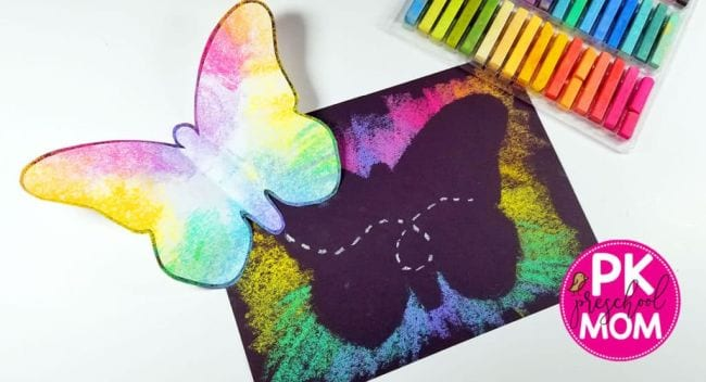 Butterfly art made with chalk pastels and black construction paper