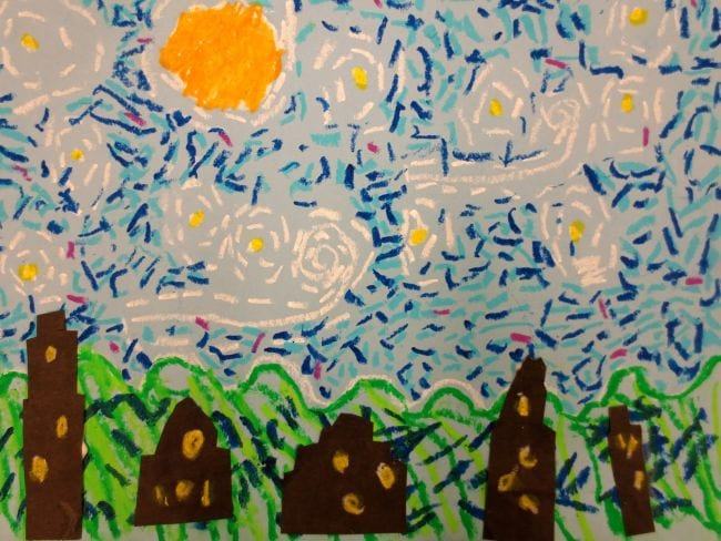 Simple reproduction of Van Gogh's Starry Night done with oil pastels (First Grade Art)