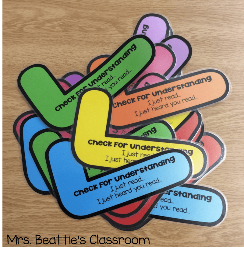 colorful laminated check marks that help students check for understanding