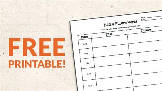 Free Printable: Verb Tense Worksheet (Grades K-2) - We Are Teachers