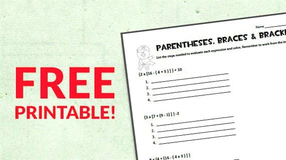 Free Printable: Braces, Brackets, and Parentheses Worksheet