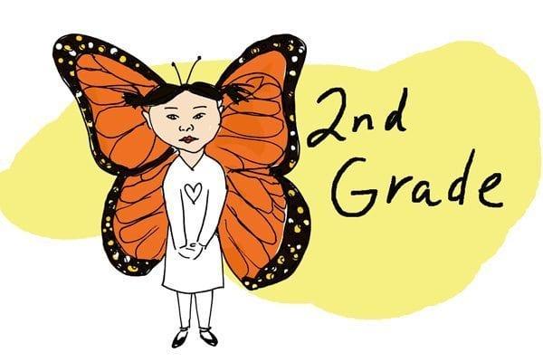 Second-graders as butterflies