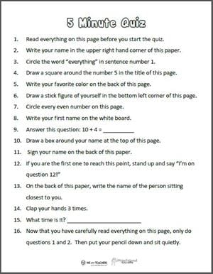 picture regarding Free Printable Black History Trivia Questions and Answers known as Totally free Printable: 5-Second Guidance Quiz - WeAreTeachers