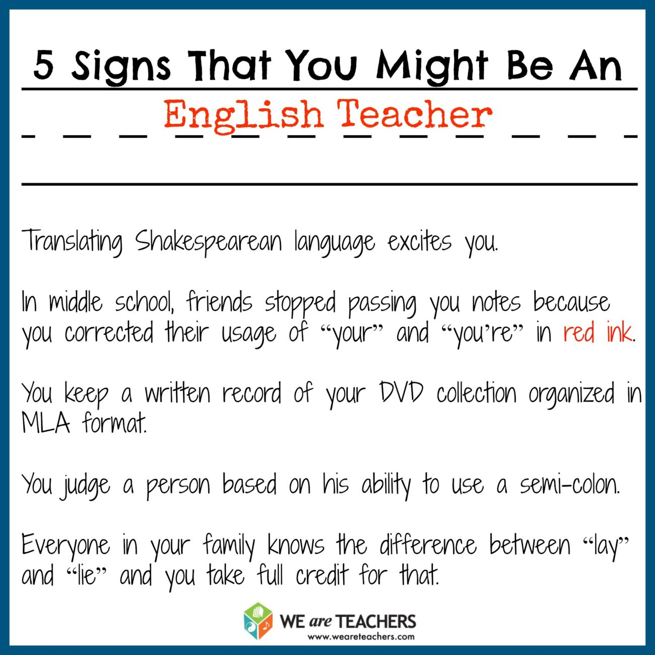 Are You an English Teacher at Heart?