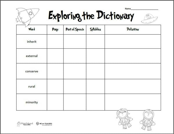 Free Printable of the Week: Exploring the Dictionary (Grades ...