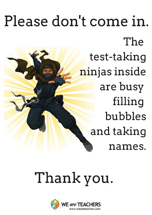 Ninja Door Sign for Testing Week