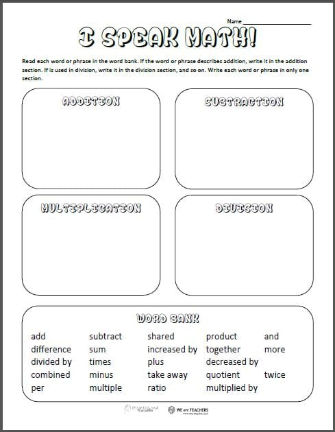 free printable math vocabulary sort  weareteachers i speak math worksheet i speak math preview i speak math preview