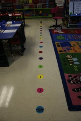 Put numbers on the floor to show kids how to line up