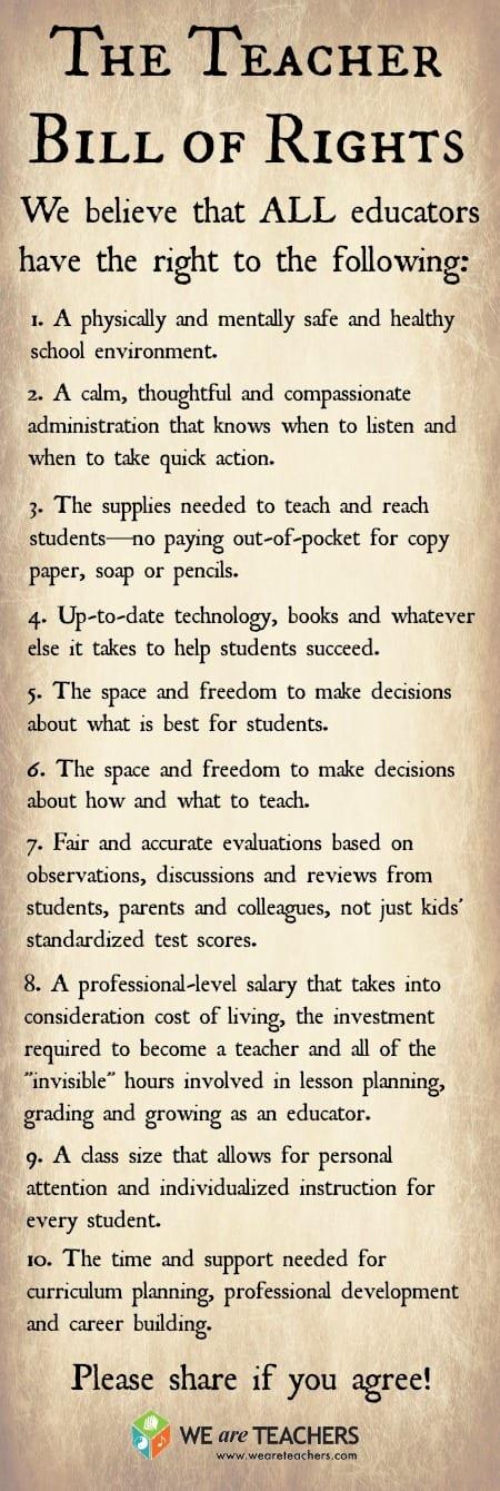 The Teacher Bill of Rights