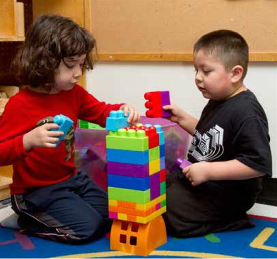 Children building with blocks
