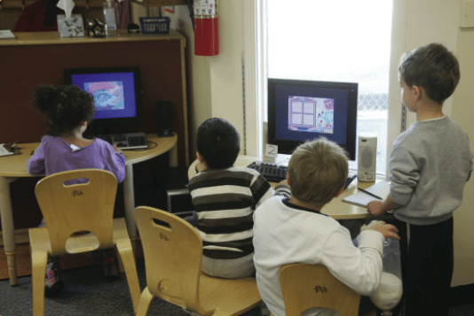 children in technology center