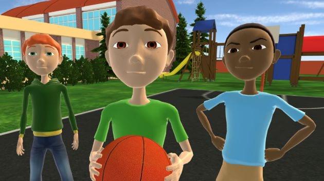 Boys play basketball deaing with a bully