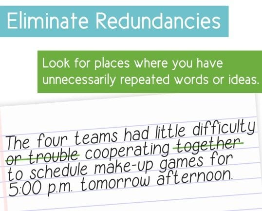 eliminate redundancies in your students' writing