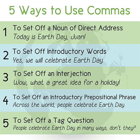 five ways to use commas poster