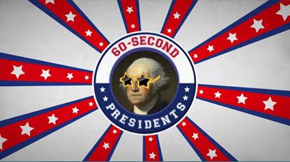 George Washington Wearing Star Glasses on Patriotic Background