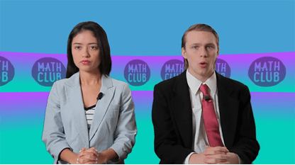 Newscasters talking about math club