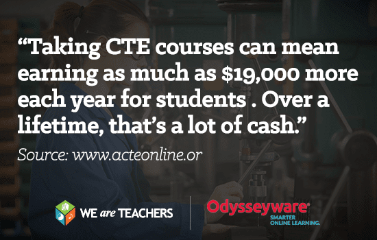 Taking CTE courses can mean earning as much as 19000 more each year for students