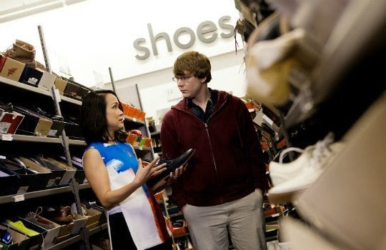Shop for shoes at the discount outlets of large retailers