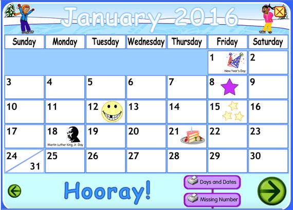 Starfall Interactive Calendar