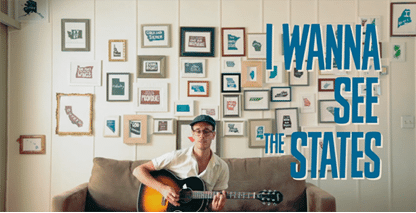 Man with guitar on couch. 'I wanna see the states.' Learning video