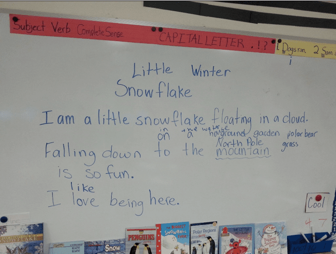 Students working on winter lesson