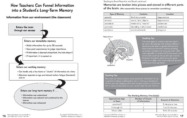 Sample worksheet pages which show brain based teaching.