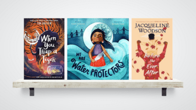 Award winning kids books on a shelf