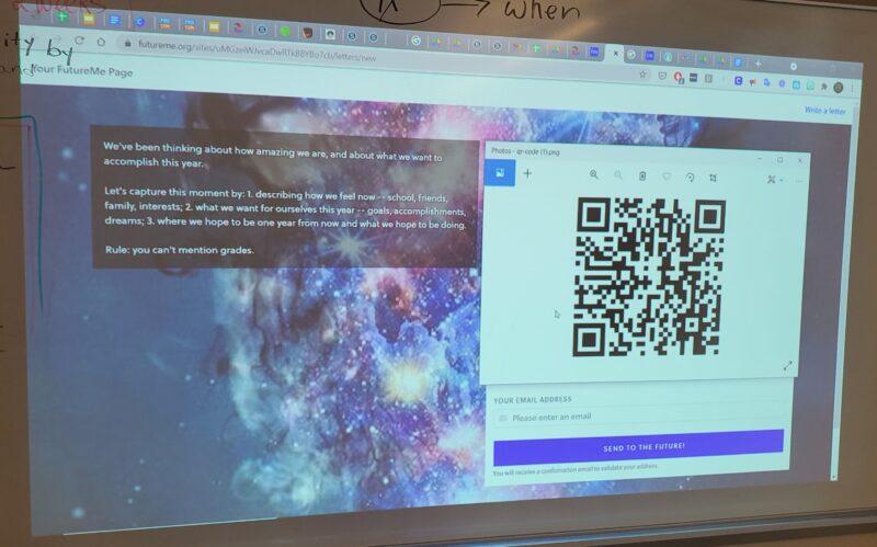 Gelecekteki kendi kendine istem mektubu için sınıfın ekran görüntüsünün resmi